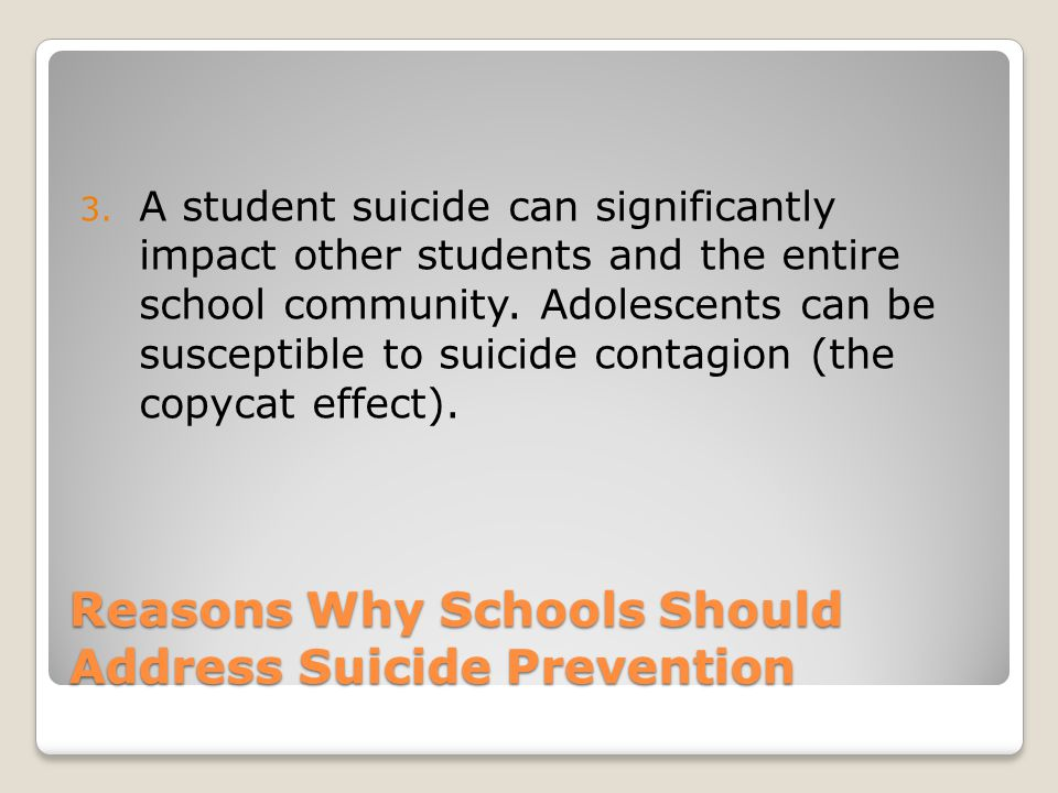 Reasons Why Schools Should Address Suicide Prevention