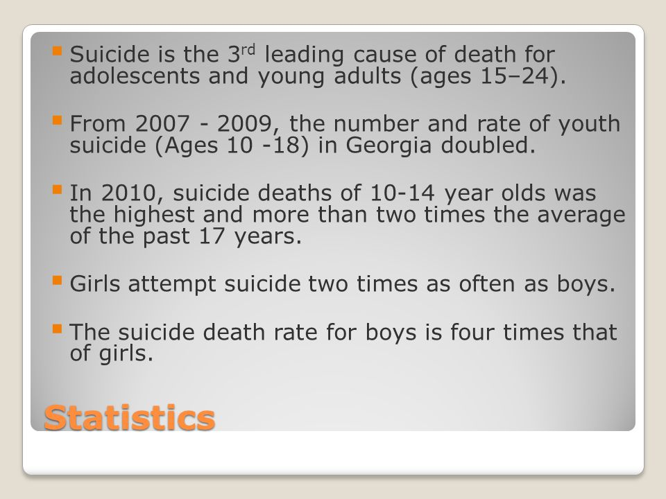 Suicide is the 3rd leading cause of death for adolescents and young adults (ages 15–24).