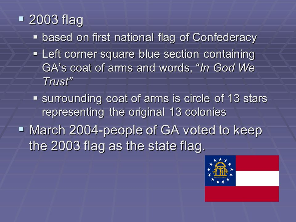 March 2004-people of GA voted to keep the 2003 flag as the state flag.