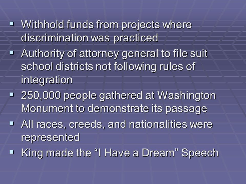 Withhold funds from projects where discrimination was practiced