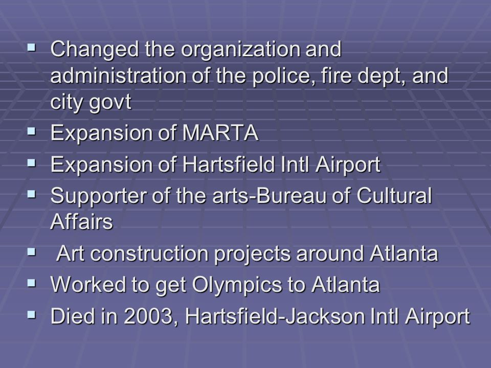 Changed the organization and administration of the police, fire dept, and city govt