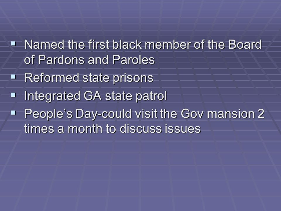 Named the first black member of the Board of Pardons and Paroles