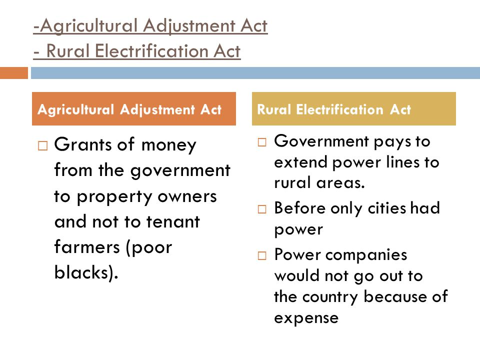 -Agricultural Adjustment Act - Rural Electrification Act