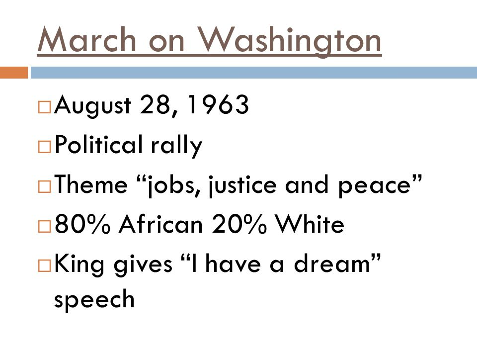 March on Washington August 28, 1963 Political rally