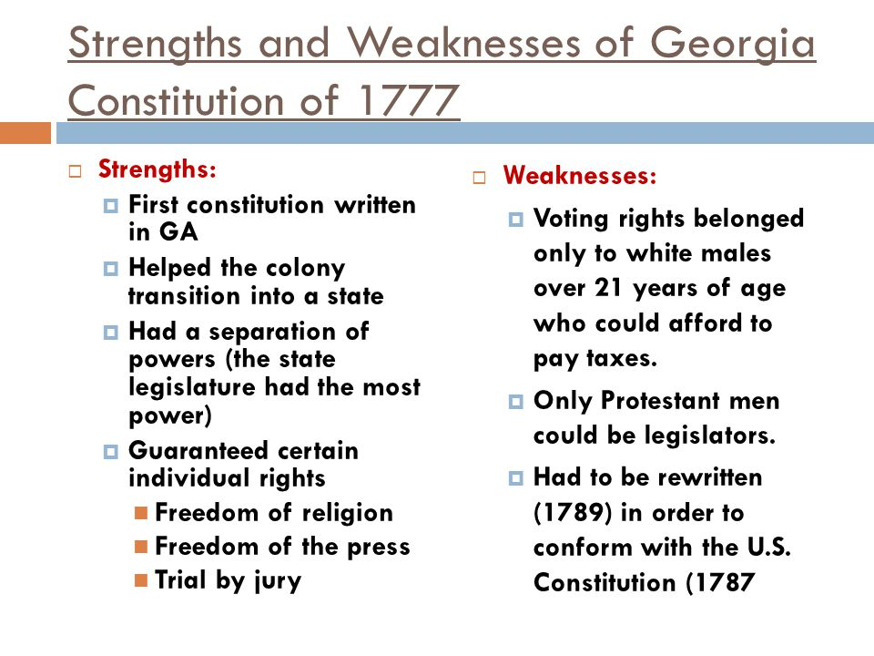 Strengths and Weaknesses of Georgia Constitution of 1777