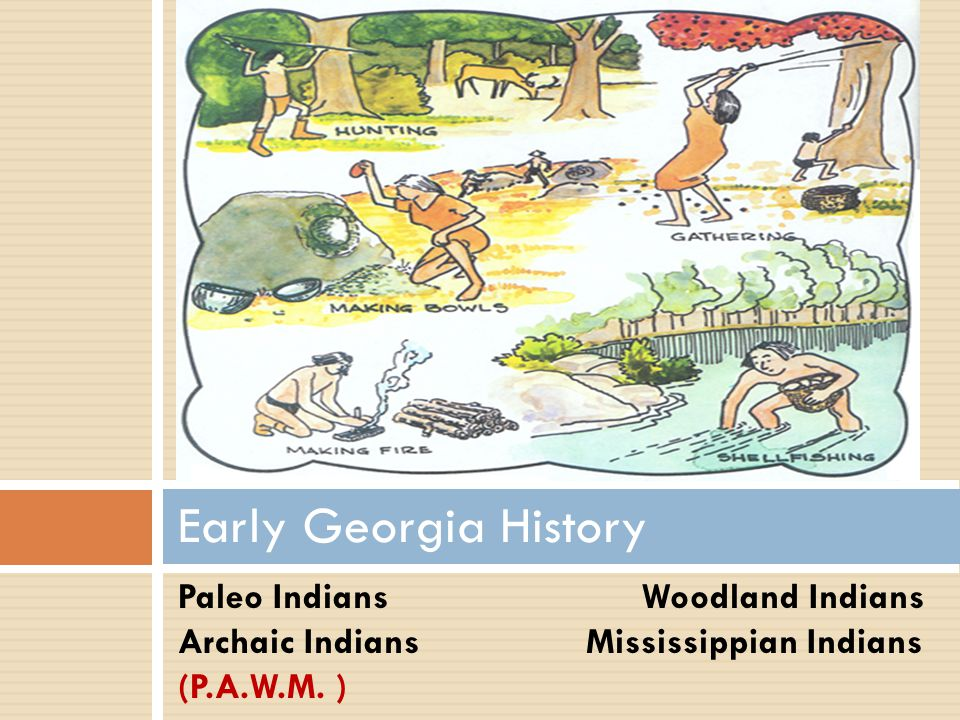 Early Georgia History Paleo Indians Woodland Indians