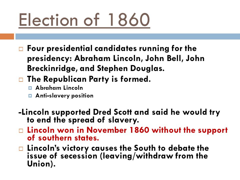 Election of 1860 Four presidential candidates running for the presidency: Abraham Lincoln, John Bell, John Breckinridge, and Stephen Douglas.
