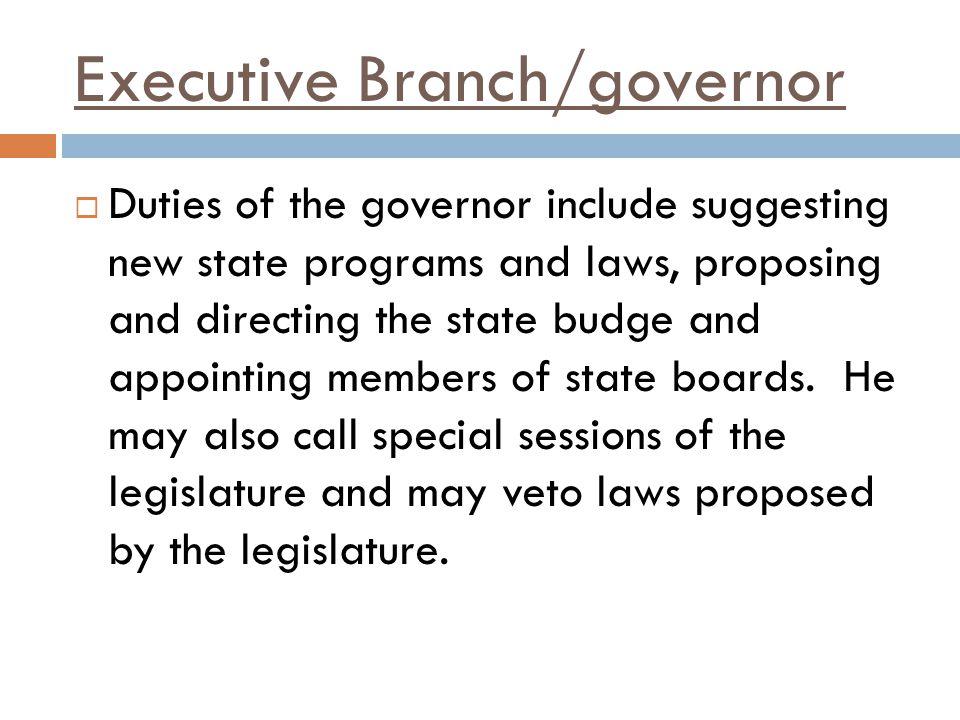 Executive Branch/governor
