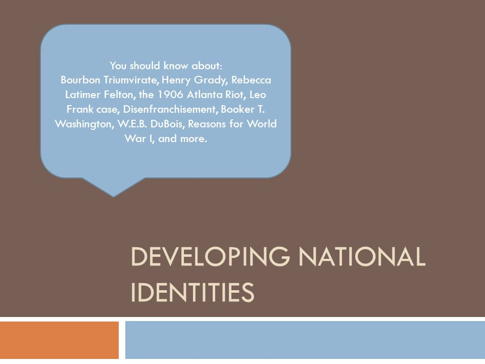 Developing national identities