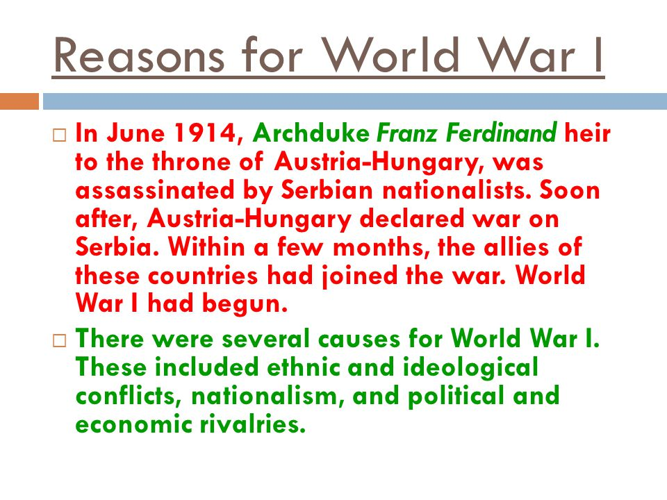 Reasons for World War I