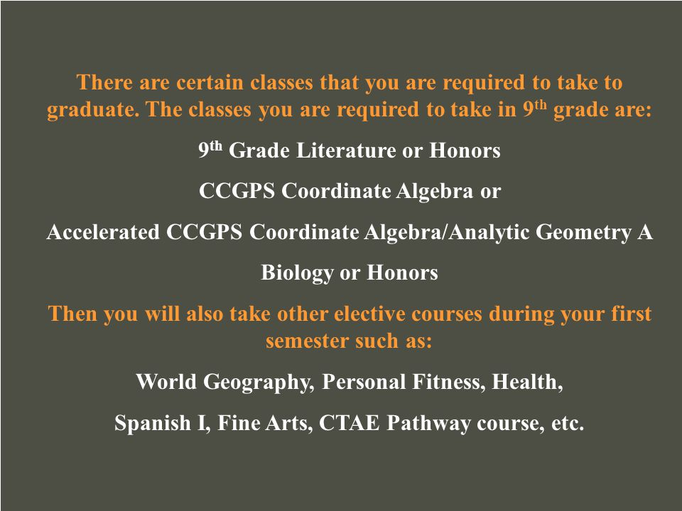 9th Grade Literature or Honors CCGPS Coordinate Algebra or