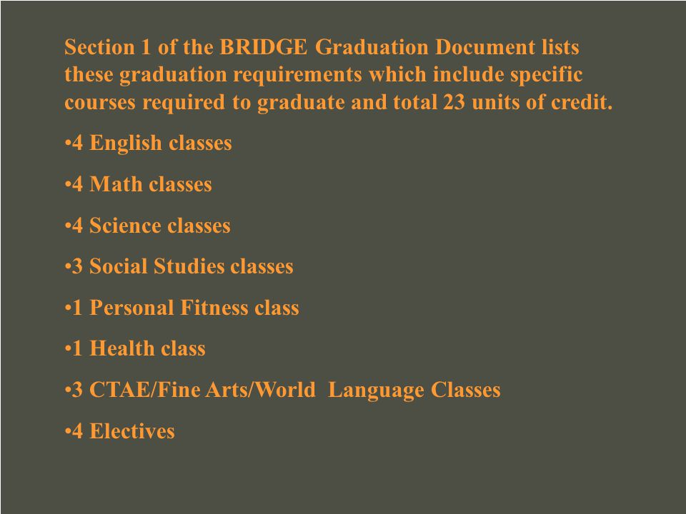 Section 1 of the BRIDGE Graduation Document lists these graduation requirements which include specific courses required to graduate and total 23 units of credit.
