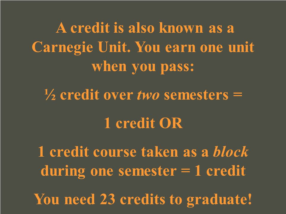 A credit is also known as a Carnegie Unit