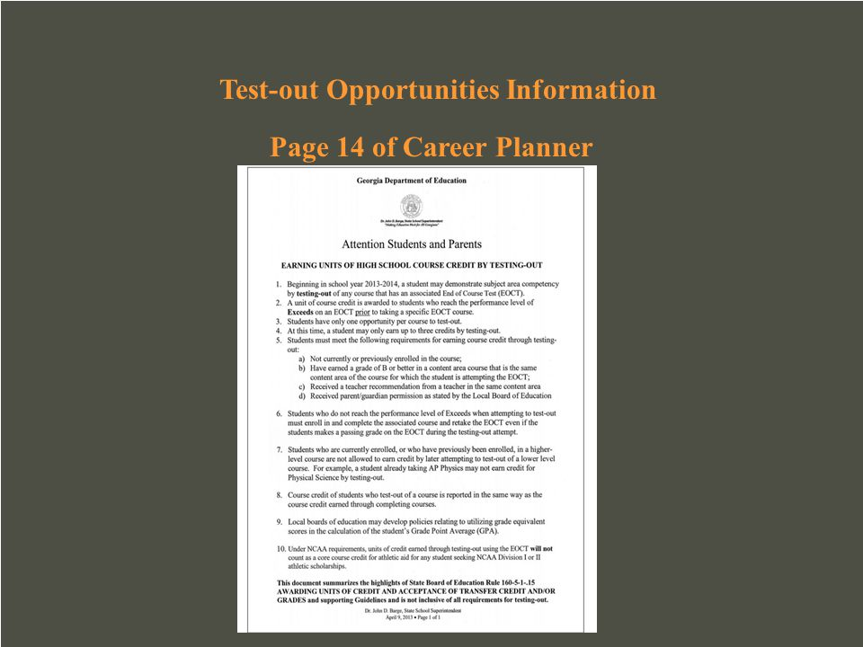 Test-out Opportunities Information