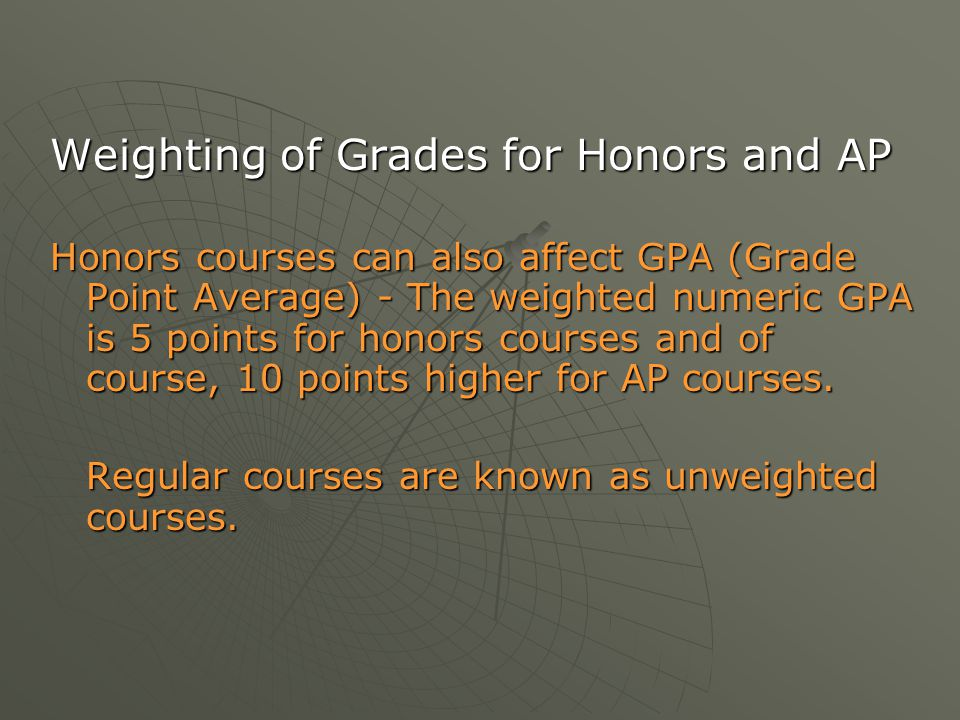 Weighting of Grades for Honors and AP