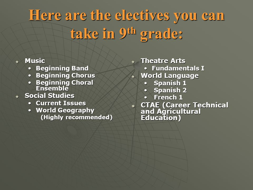Here are the electives you can take in 9th grade: