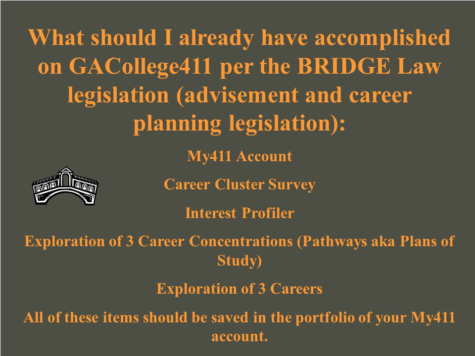 What should I already have accomplished on GACollege411 per the BRIDGE Law legislation (advisement and career planning legislation):