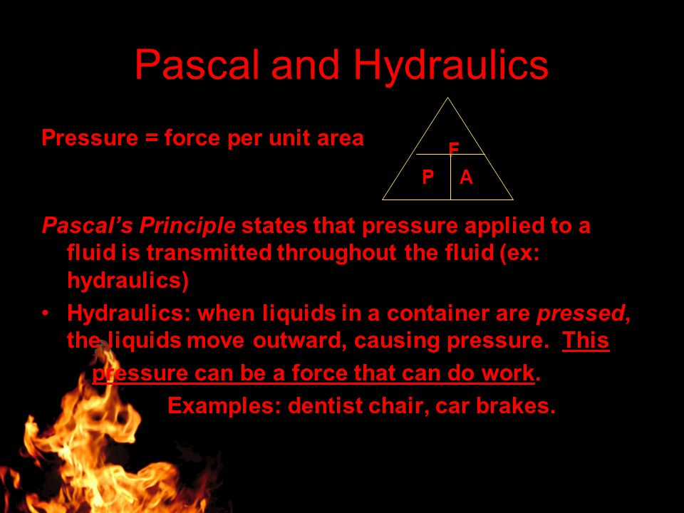 Pascal and Hydraulics Pressure = force per unit area