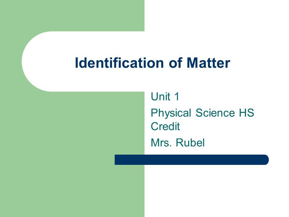 Identification of Matter