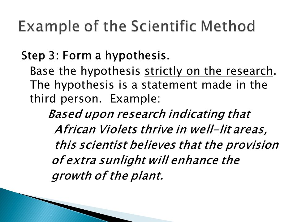 Example of the Scientific Method