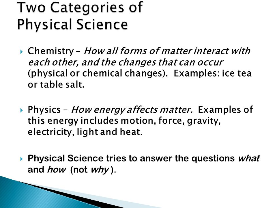 Two Categories of Physical Science