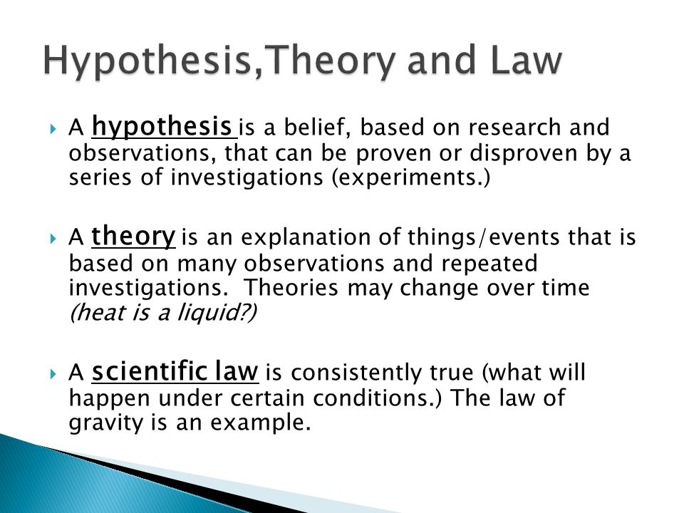 Hypothesis,Theory and Law