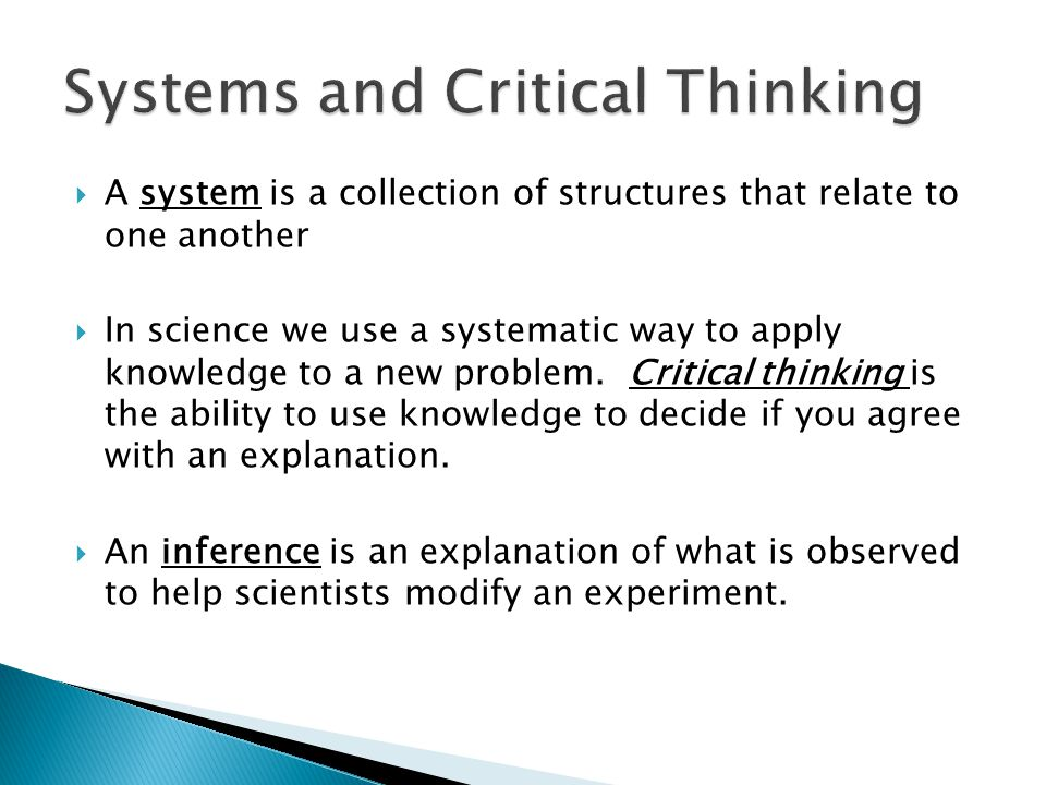 Systems and Critical Thinking