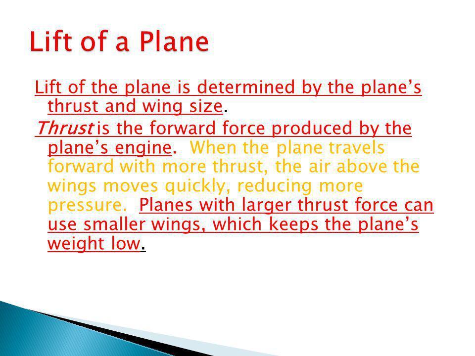 Lift of a Plane