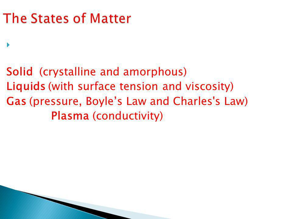 The States of Matter States of matter are the physical forms in which a substance can exist: Solid (crystalline and amorphous)