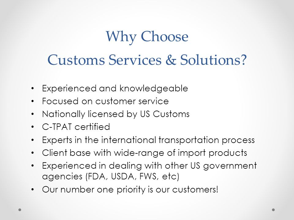 Why Choose Customs Services & Solutions