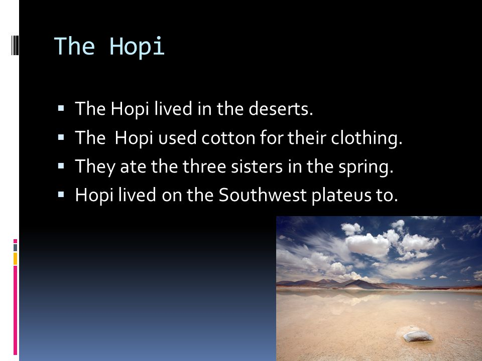 The Hopi The Hopi lived in the deserts.