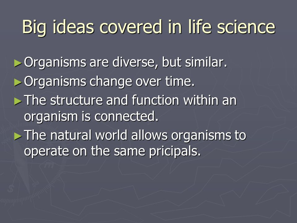 Big ideas covered in life science
