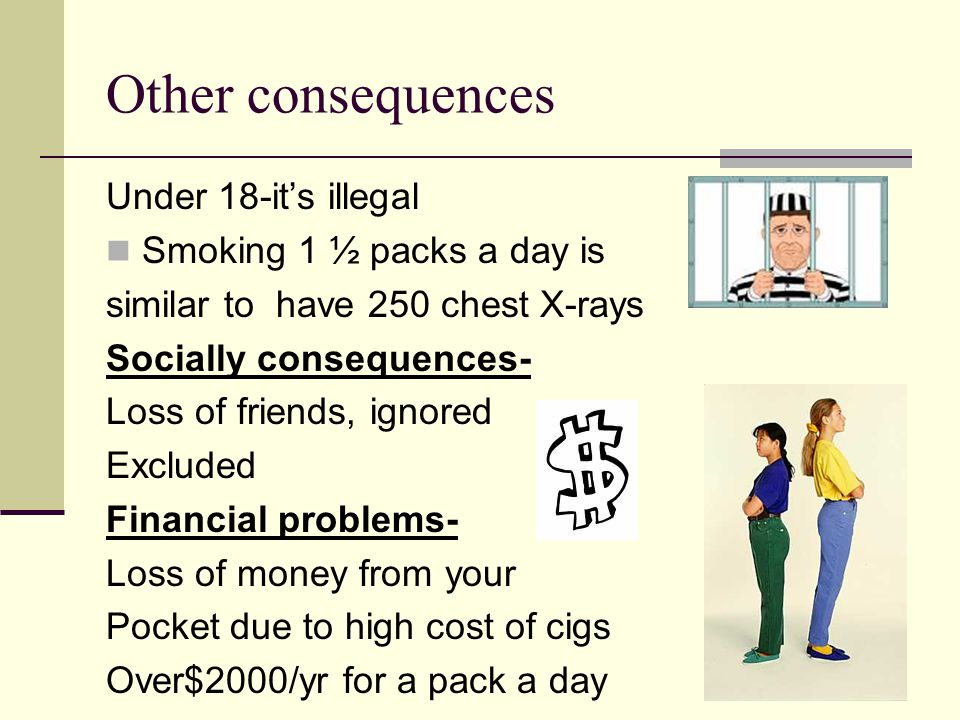 Other consequences Under 18-it's illegal Smoking 1 ½ packs a day is