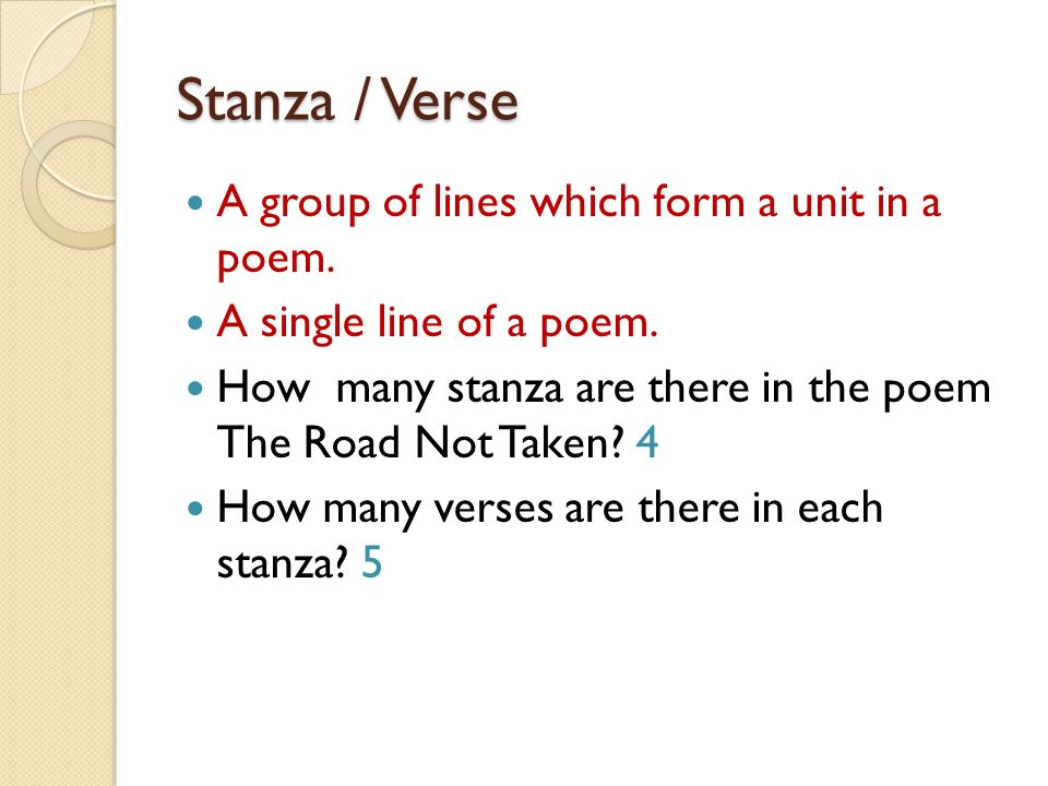 Stanza / Verse A group of lines which form a unit in a poem.