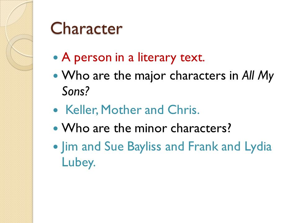 Character A person in a literary text.