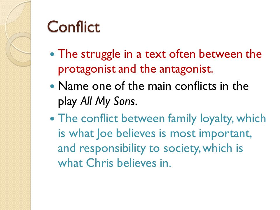 Conflict The struggle in a text often between the protagonist and the antagonist. Name one of the main conflicts in the play All My Sons.