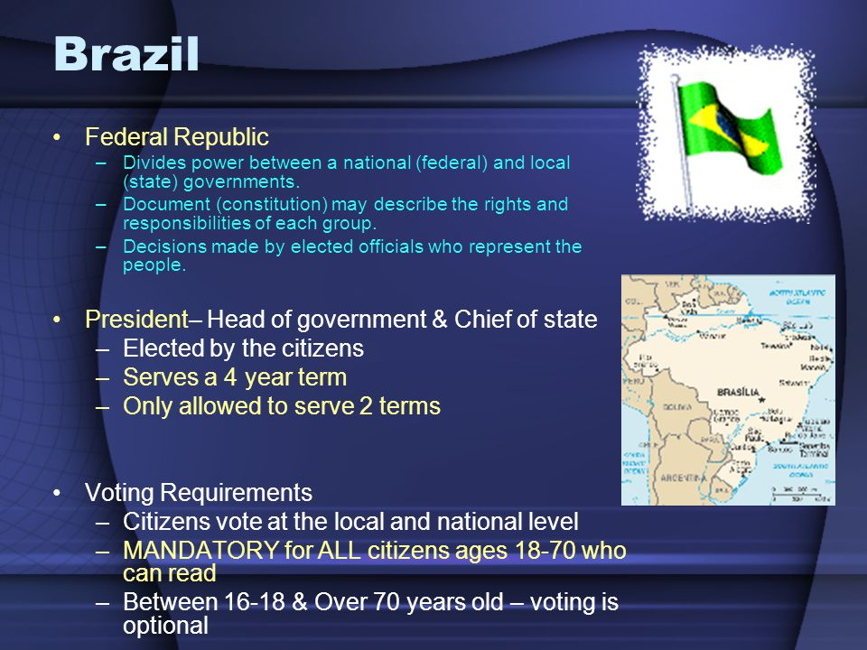 Brazil Federal Republic President– Head of government & Chief of state