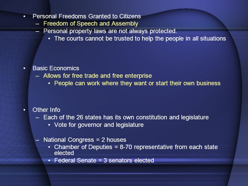 Personal Freedoms Granted to Citizens