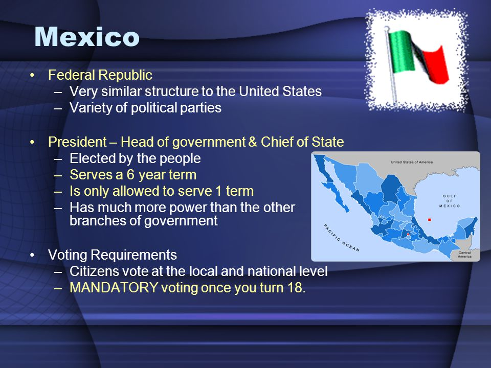 Mexico Federal Republic Very similar structure to the United States