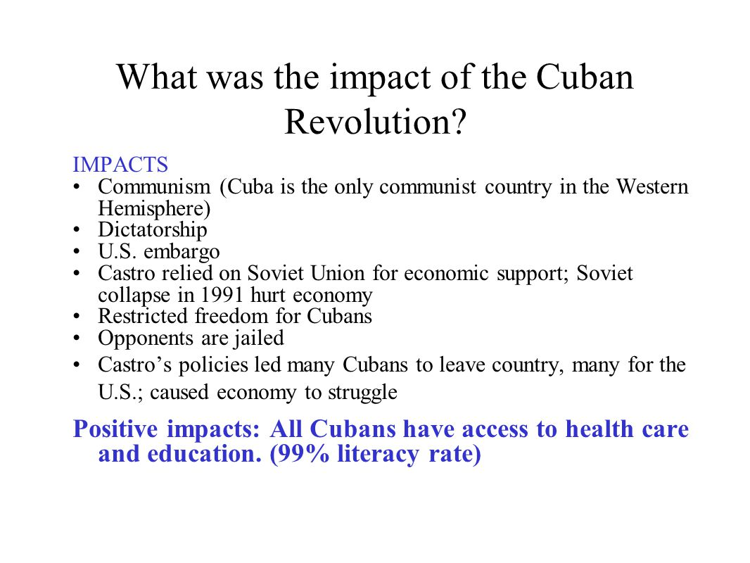 What was the impact of the Cuban Revolution