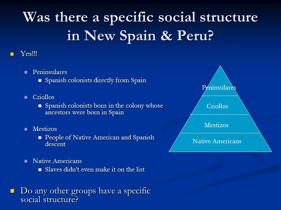 Was there a specific social structure in New Spain & Peru