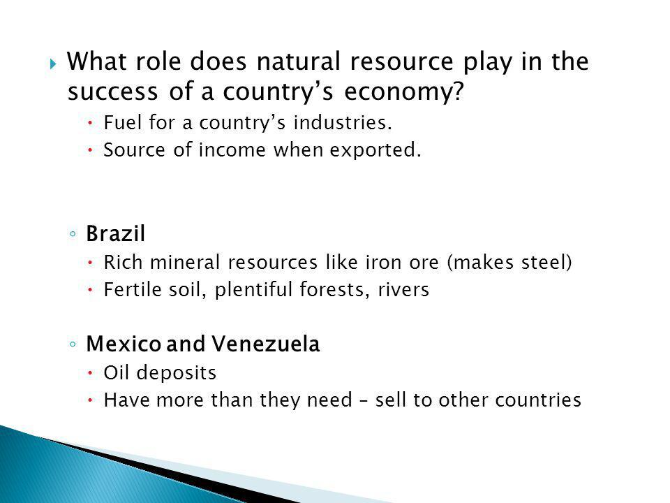 What role does natural resource play in the success of a country's economy
