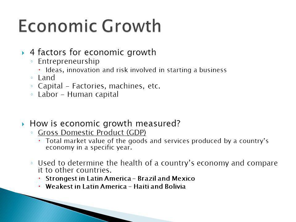 Economic Growth 4 factors for economic growth