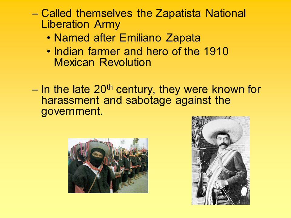 Called themselves the Zapatista National Liberation Army