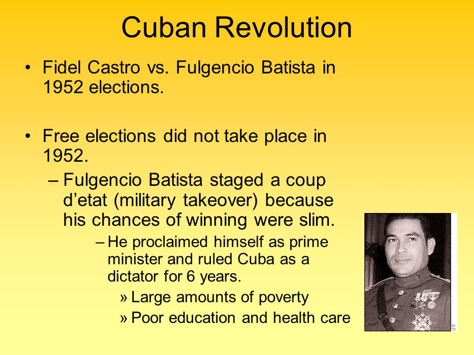 Cuban Revolution Fidel Castro vs. Fulgencio Batista in 1952 elections.