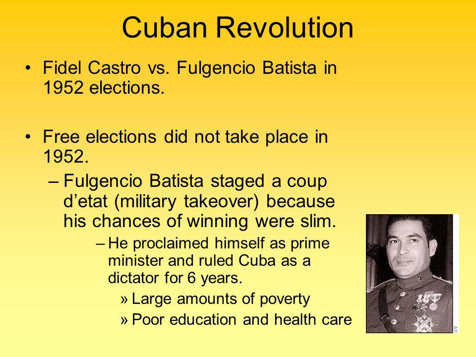 Cuban Revolution Fidel Castro vs. Fulgencio Batista in 1952 elections.