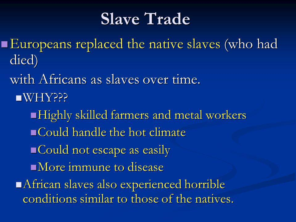 Slave Trade Europeans replaced the native slaves (who had died)