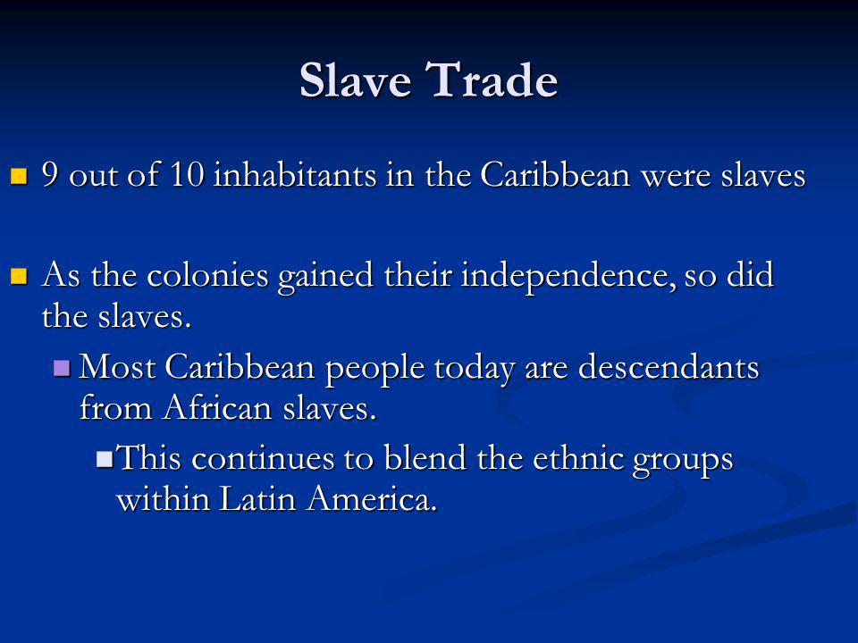 Slave Trade 9 out of 10 inhabitants in the Caribbean were slaves