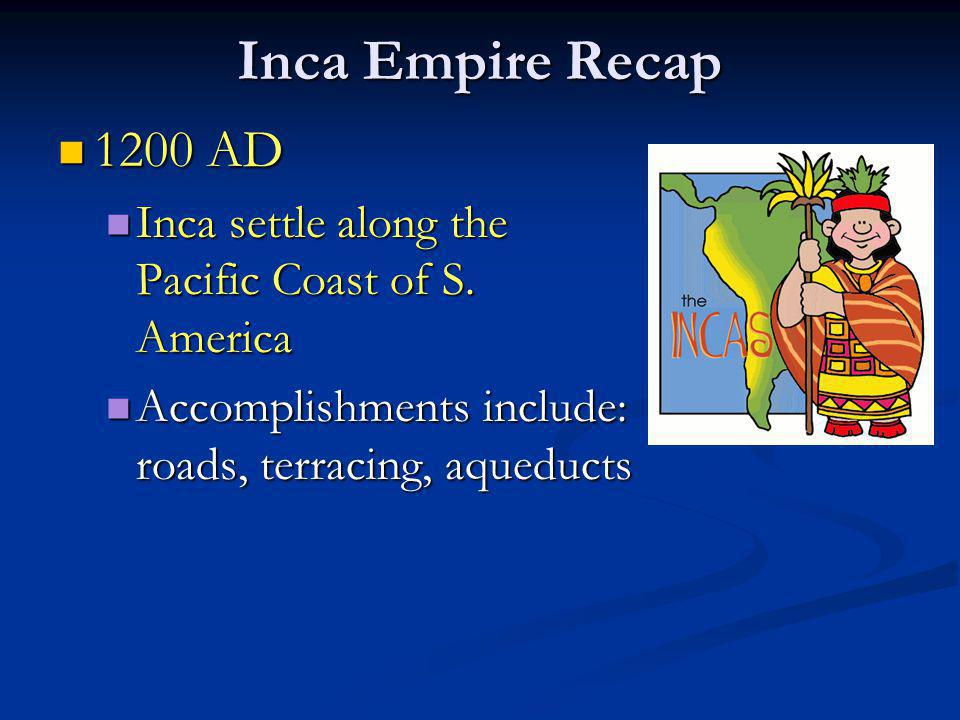 Inca Empire Recap 1200 AD. Inca settle along the Pacific Coast of S.