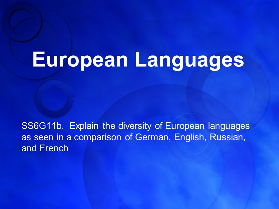 European Languages SS6G11b.